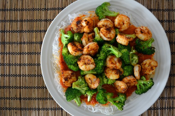 Roasted Broccoli, Shrimp, and Noodles