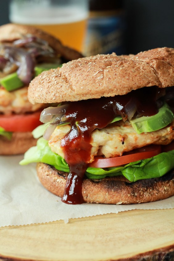 21. BBQ Chicken Burgers With Caramelized Onions