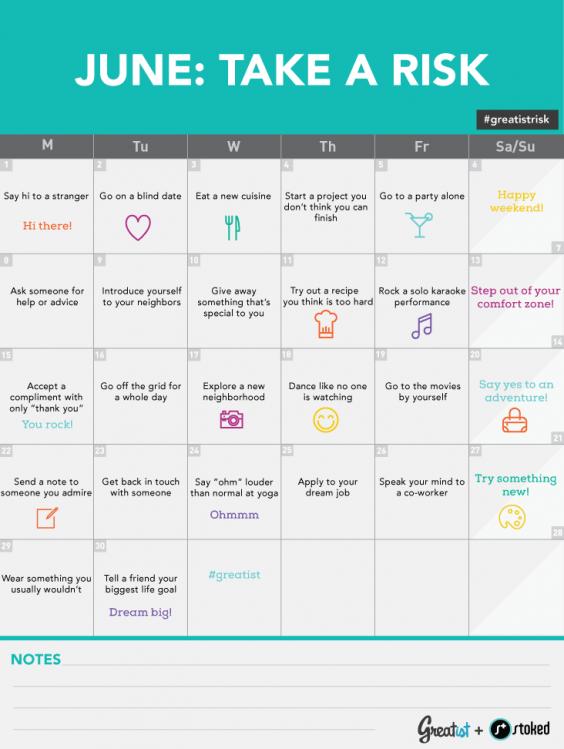June Challenge Take a Risk Calendar