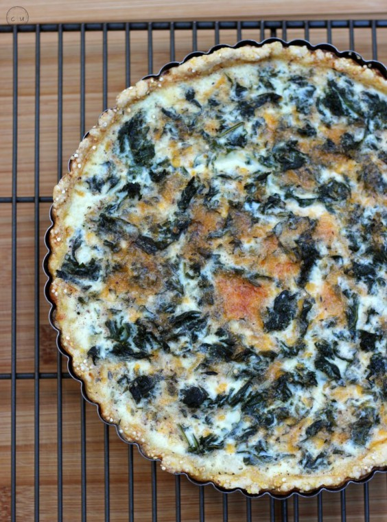 Kale And Cheese Tart With Quinoa Crust