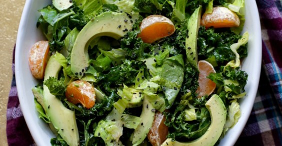 Kale, Avocado, Tangerine, and Sesame Salad