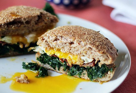 Kale, Bacon, and Egg Whole-Wheat Breakfast Sandwich