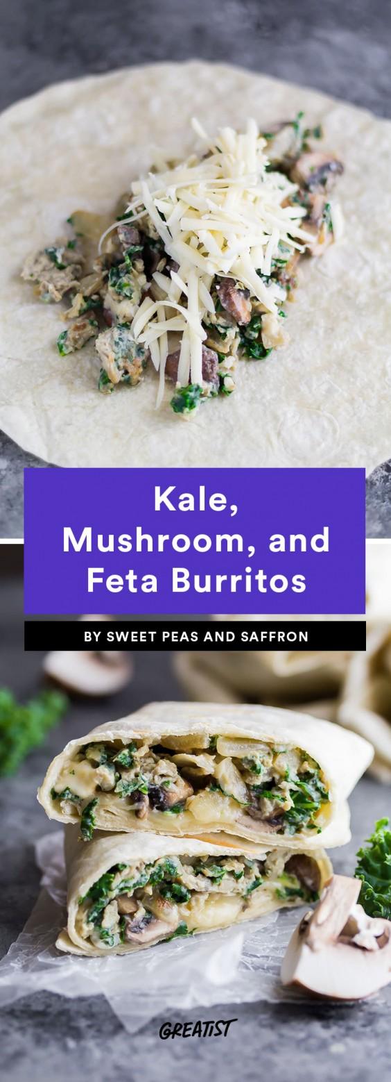 Kale, Mushroom and Feta Burrito Recipe