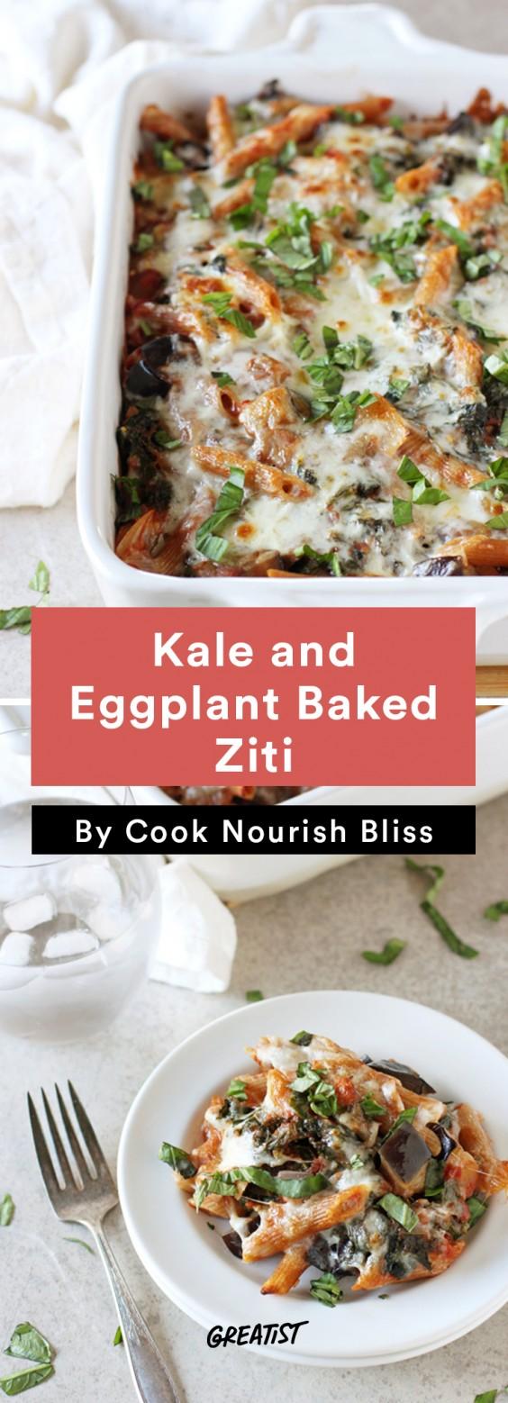 one tray veg din: Kale and Eggplant Baked Ziti