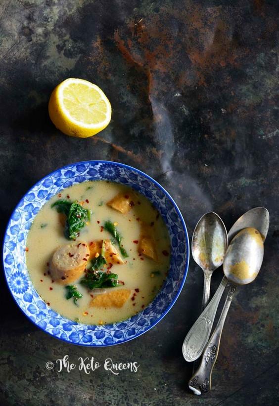 Keto Creamy Sausage and Spinach Soup Recipe