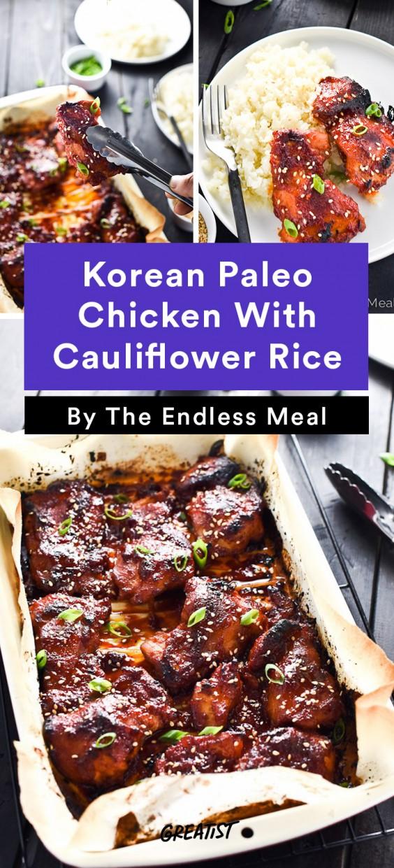 Chicken Thigh Recipes: Korean Paleo Chicken With Cauliflower Rice