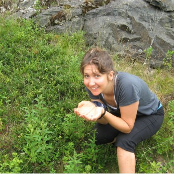 Laura Newcomer Picking Blueberries
