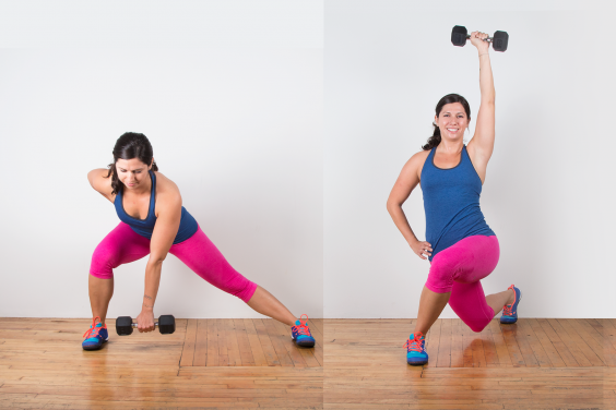 Lateral Lunge to Curtsy Lunge with Overhead Press
