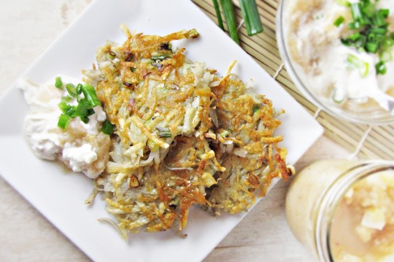 41 Guilt-Free Super Bowl Snacks: Latkes with Apple Ginger Cream