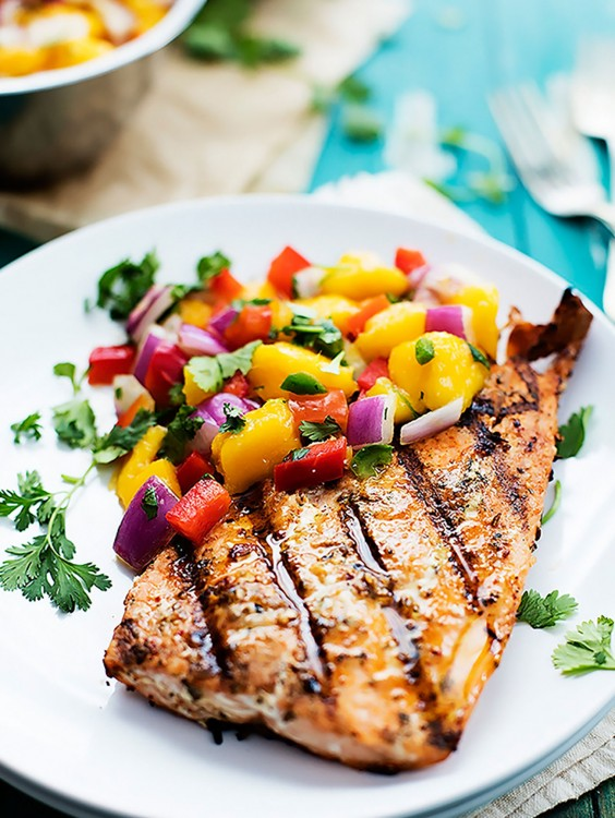 Seafood Dinner Party Ideas Part - 47: Whole30 Dinner Recipes: Grilled Salmon With Mango Salsa