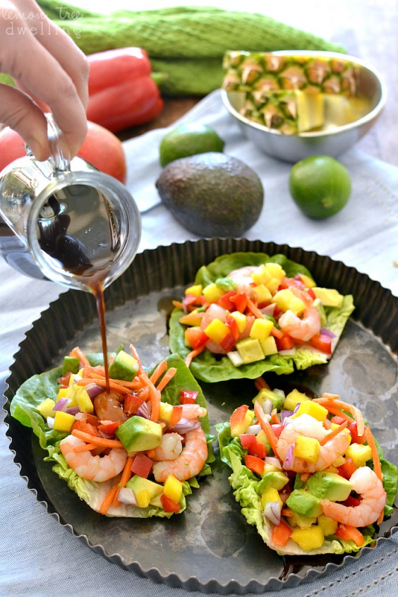 Shrimp: Tropical Lettuce Wraps