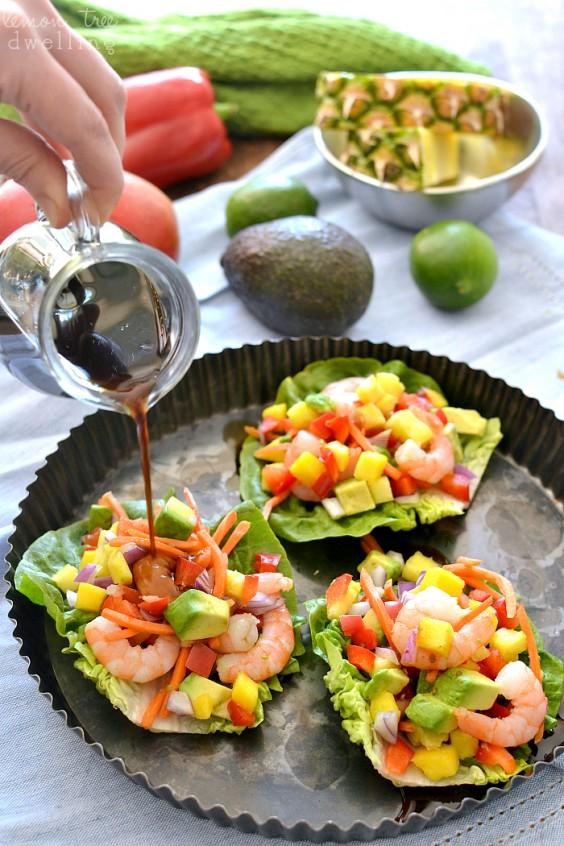 Shrimp: Tropical Lettuce Wraps