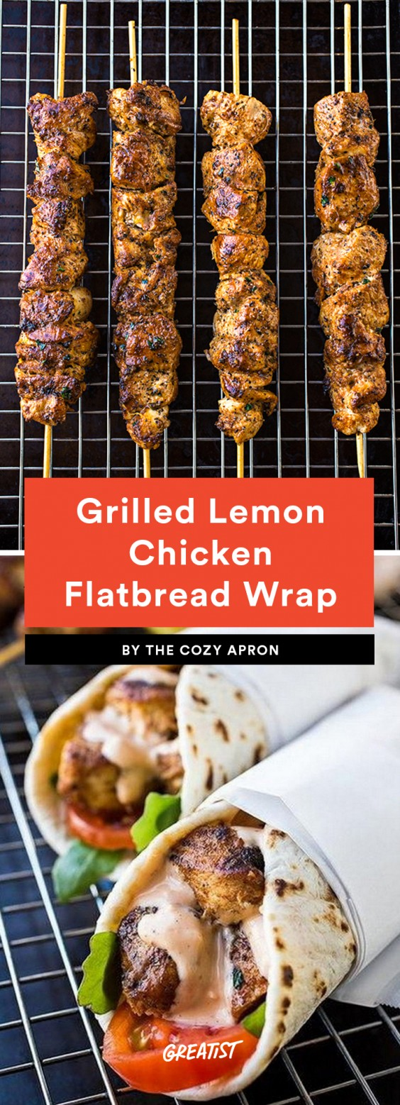 Grilled Lemon Chicken Flatbread Wrap Recipe