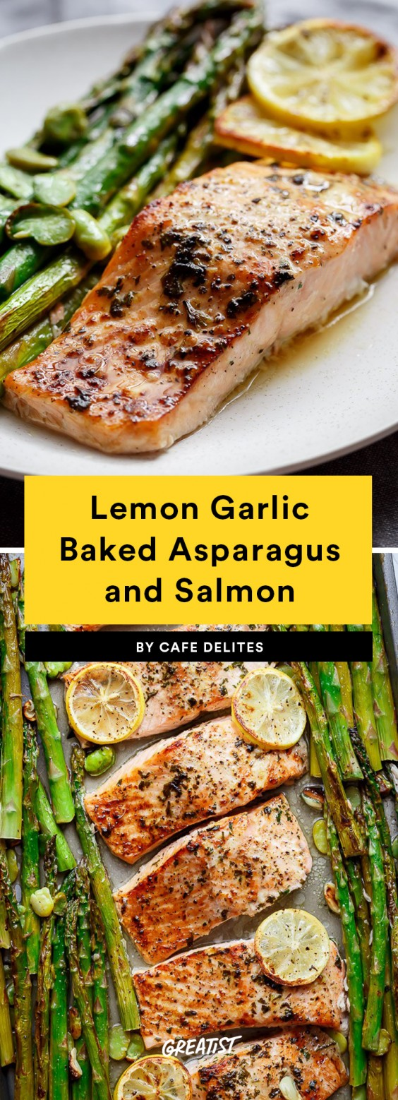 Lemon Garlic Baked Asparagus and Salmon