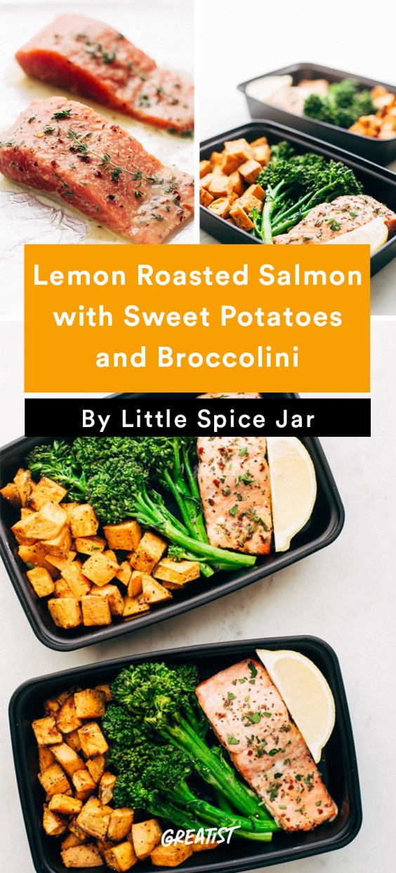 Meal Prep Lunches: Lemon Roasted Salmon with Sweet Potatoes and Broccolini
