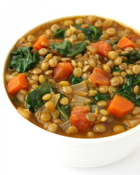 2. Lentil Spinach Soup