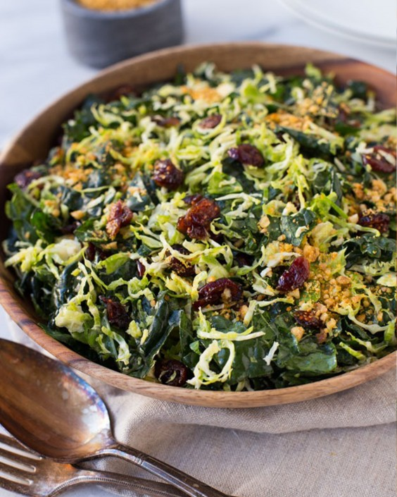 20 Gluten-Free Lunches: Shredded Brussel Sprout and Kale Salad with Maple Pecan Parmesan