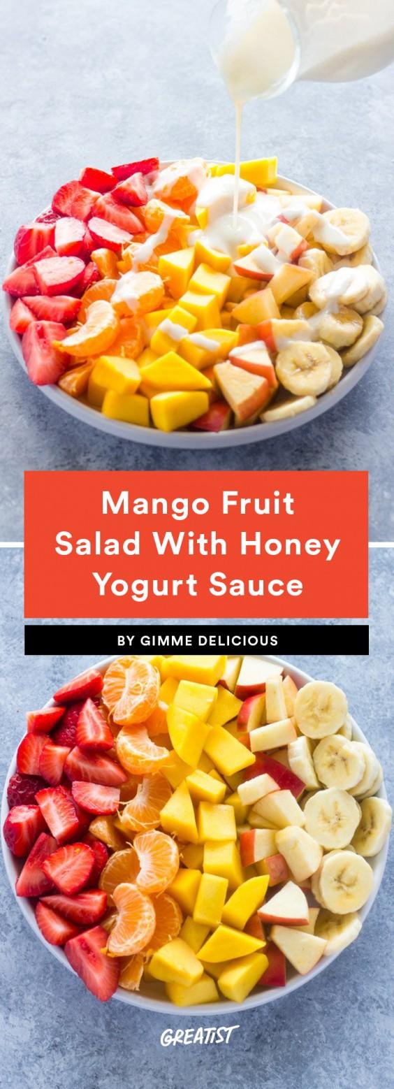 Mango Fruit Salad With Honey Yogurt Sauce