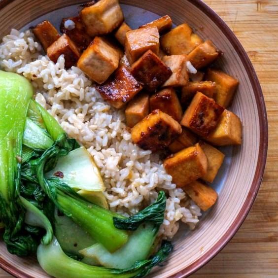 Maple Glazed Tofu with Garlic Bok Choy Sauté & Brown Rice