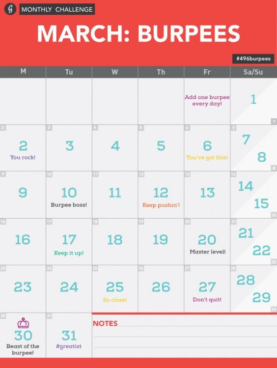 Burpee Challenge Calendar