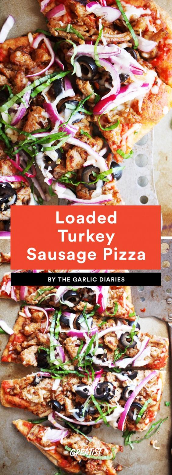 Loaded Turkey Sausage Pizza