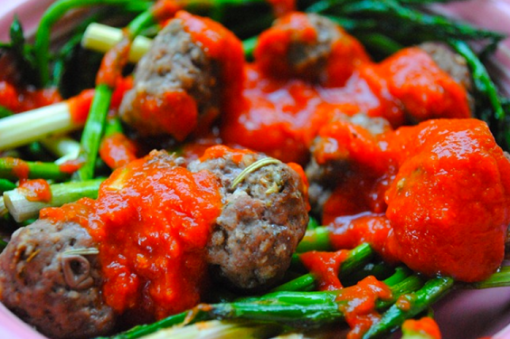 Meatballs With Roasted Asparagus Recipe