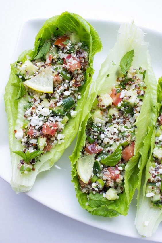 Veggie Boats: Mediterranean Quinoa Lettuce