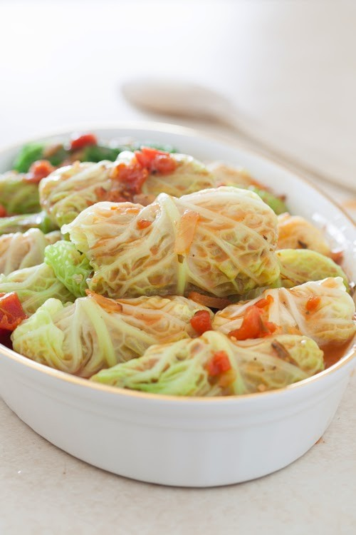 Vegetarian Stuffed Cabbage Rolls with Quinoa, Onions and Carrots