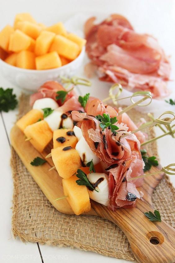 Picnic: Melon, Prosciutto, and Mozzarella Skewers