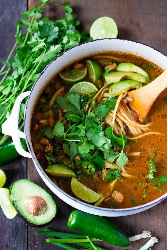 Mexican Chickpea Noodle Soup