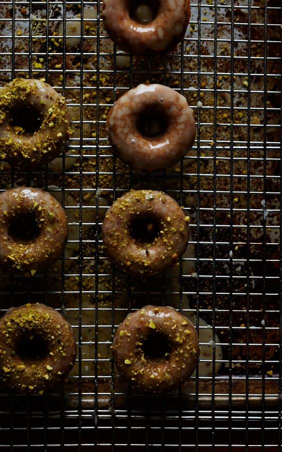 Pistachio Cardamom Doughnuts With Mascarpone Glaze