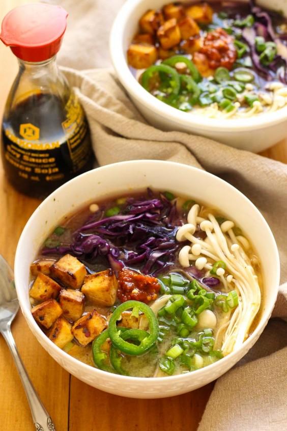 Tofu Recipes: Miso Soba Noodle Bowls