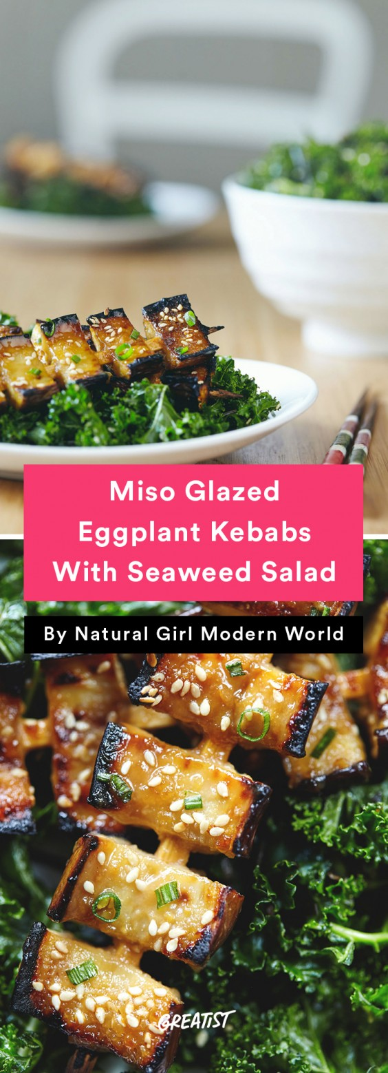 Miso Glazed Eggplant Kebabs With Seaweed Salad