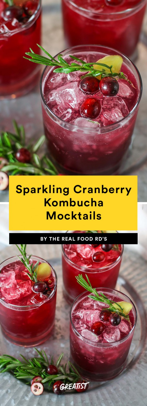 Sparkling Cranberry Kombucha Mocktails