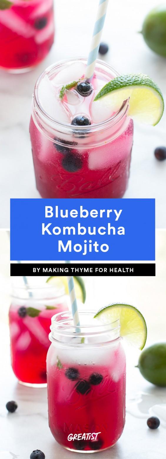Blueberry Kombucha Mojito