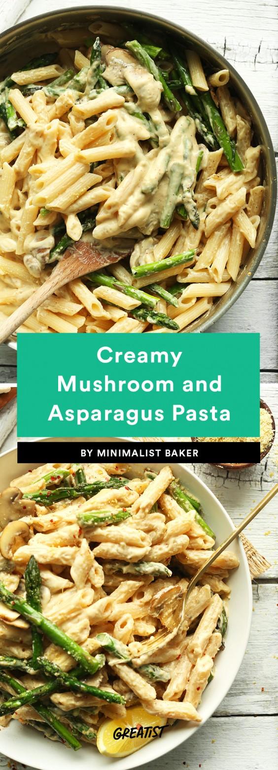 Creamy Mushroom and Asparagus Pasta