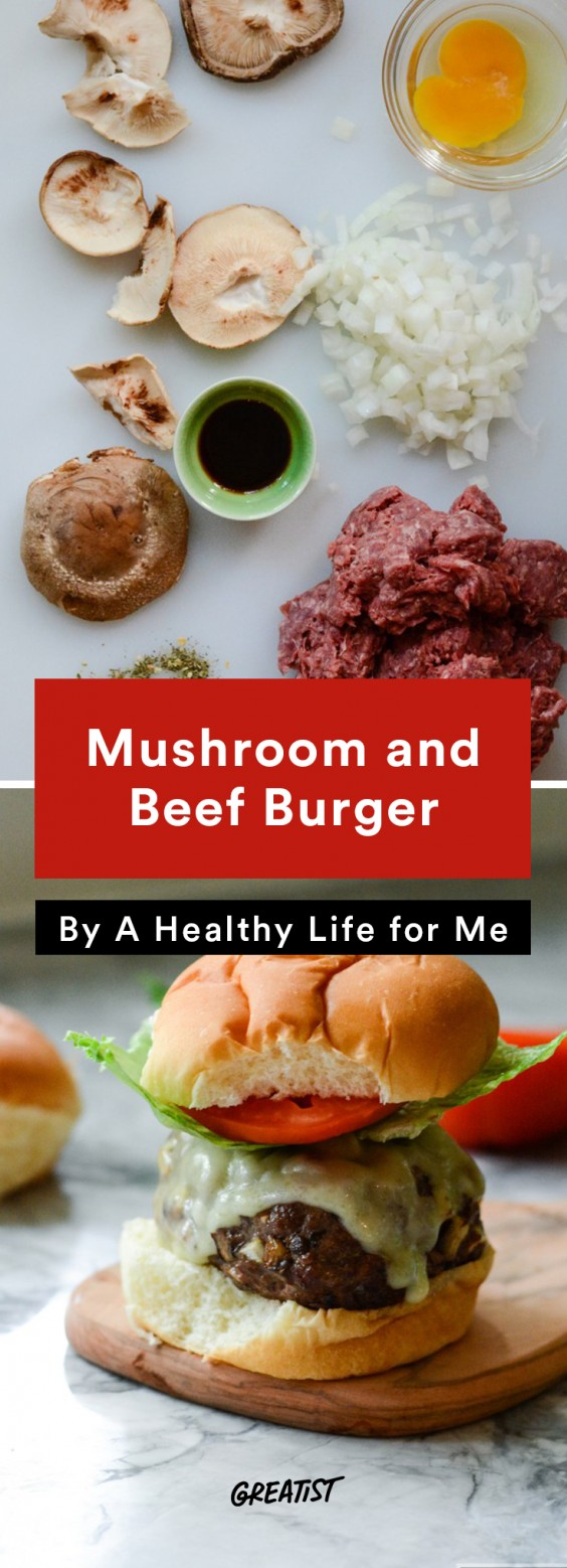 american comfort: Mushroom and Beef Burger