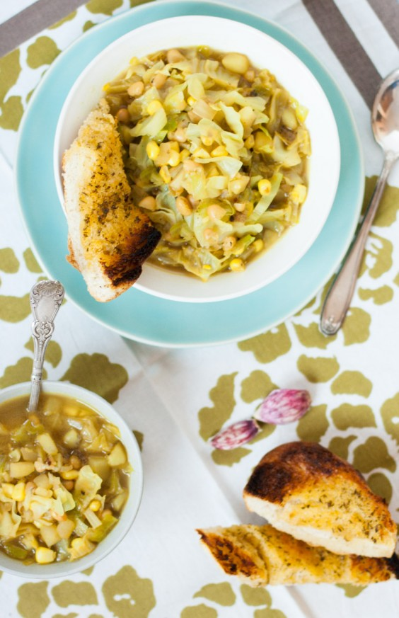 Curried Corn and Cabbage Soup