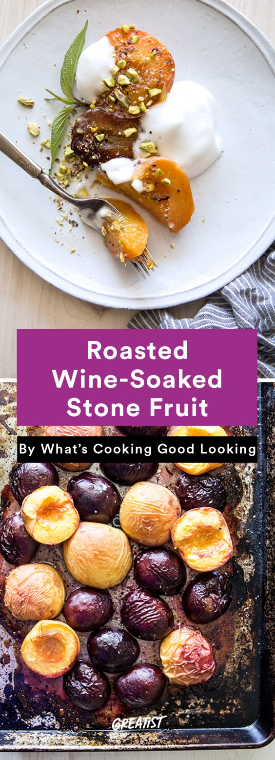 no dairy dessert: Wine-Soaked Peaches and Plums