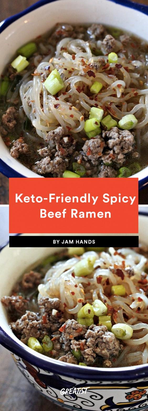 Keto-Friendly Spicy Beef Ramen