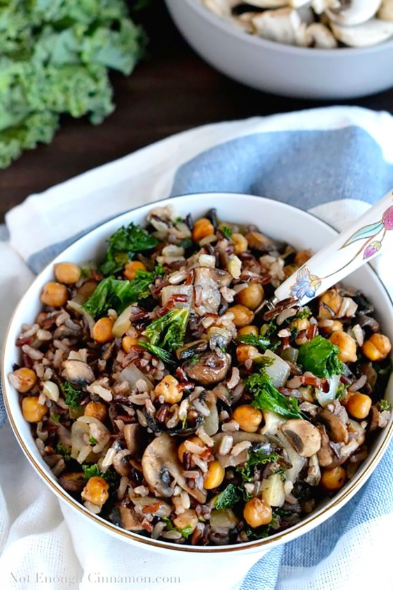 Healthy Grain Bowls: Kale, Mushroom, and Roasted Chickpea Rice Bowl