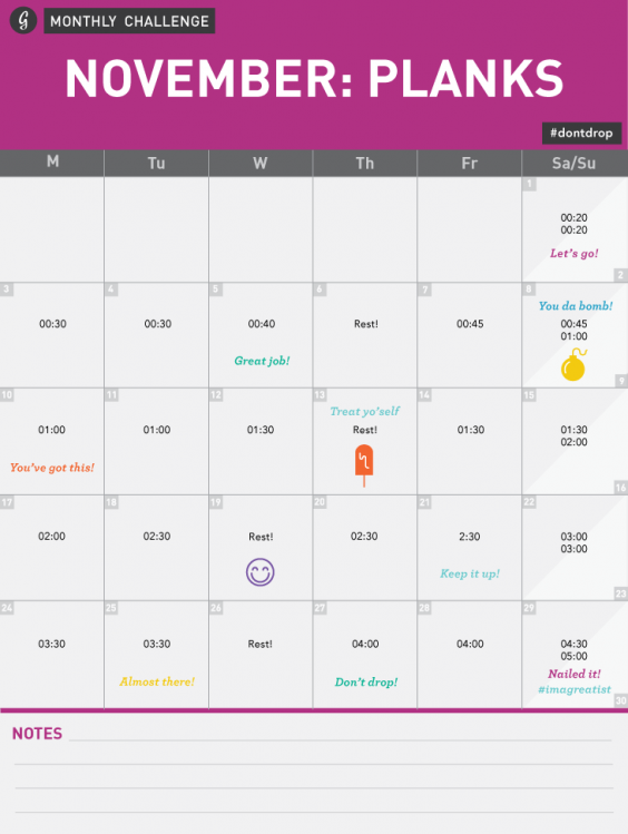 November Monthly Challenge Calendar