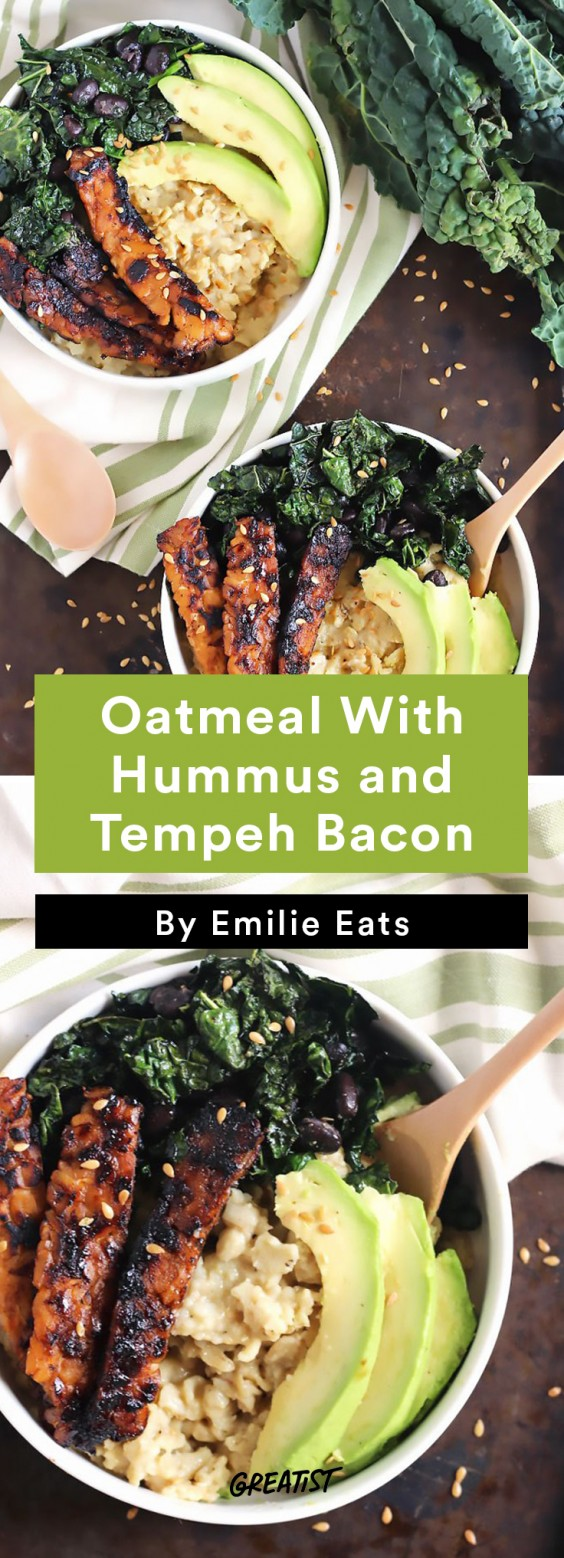 savory oatmeal: Oatmeal With Hummus and Tempeh Bacon