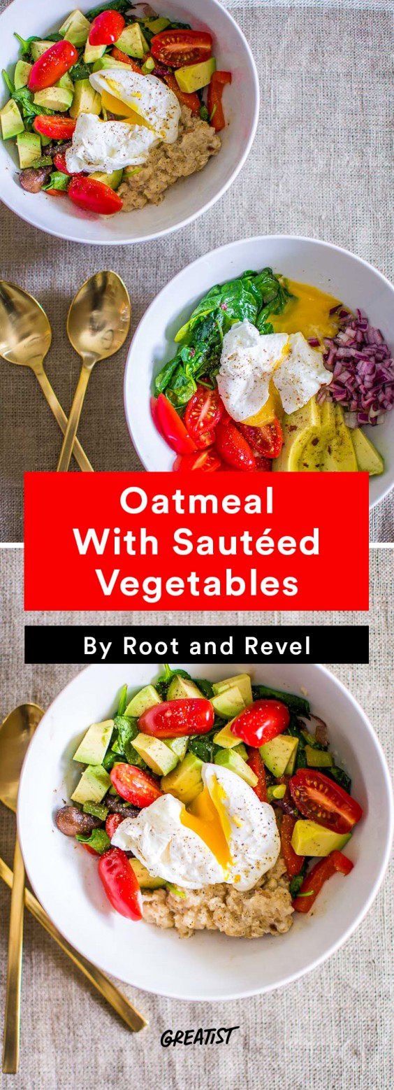 savory oatmeal: Oatmeal With Sauteed Vegetables