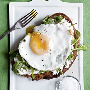2. Open-Faced Sandwiches with Ricotta, Arugula, and Fried Egg