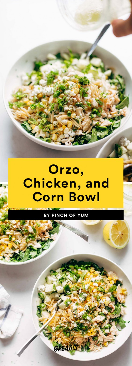 Orzo, Chicken, and Corn Bowl