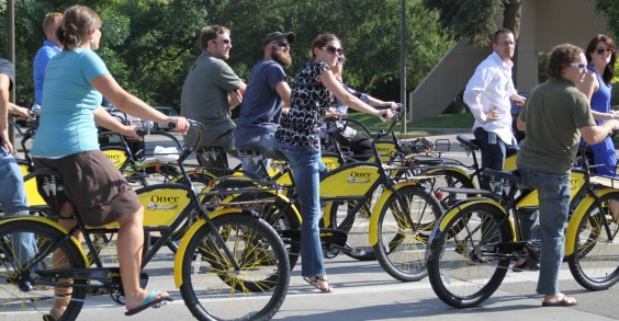 Otter Products Employees on Cruiser Bikes