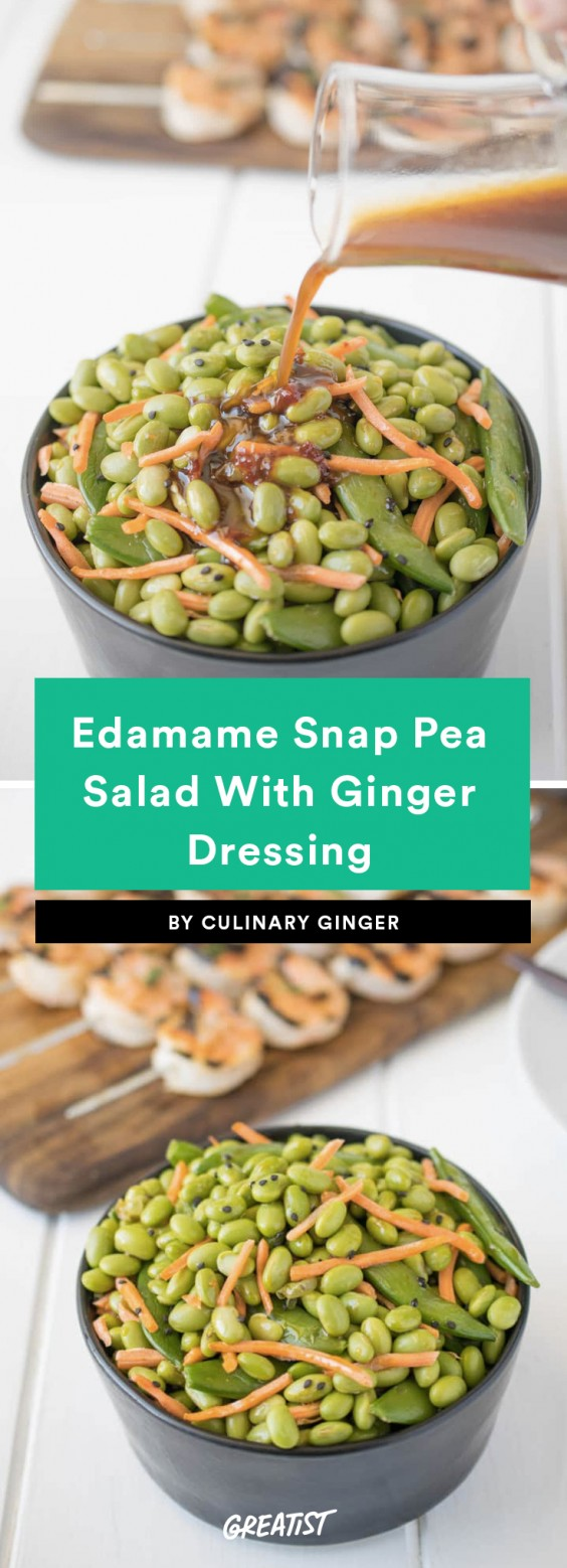 Edamame Snap Pea Salad With Ginger Dressing