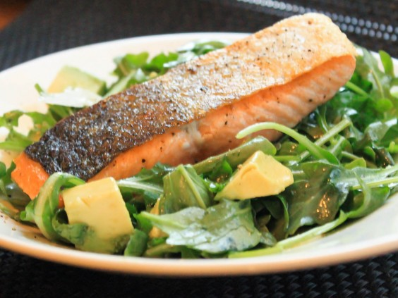 27. One-Pot Salmon With Arugula and Avocado Salad