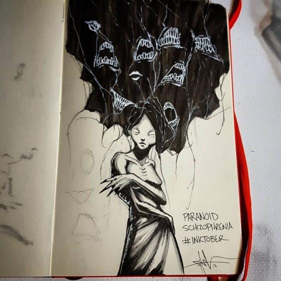paranoid schizophrenia illustration